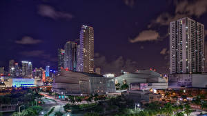 Picture USA Houses Florida Miami Night time Cities
