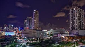 Hintergrundbilder USA Haus Florida Miami Nacht Städte