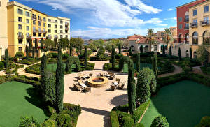 Desktop wallpapers USA Building Landscape design Hotel Nevada Hilton Lake Las Vegas Resort Cities