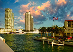 Sfondi desktop USA La casa Banchina Miami Golfo