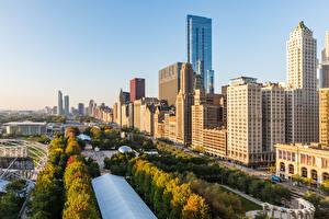 Sfondi desktop USA Edificio Mattino Grattacielo Chicago città Città