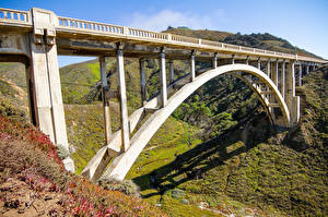 Pictures USA Mountains Bridges California Bixby Creek Bridge Nature