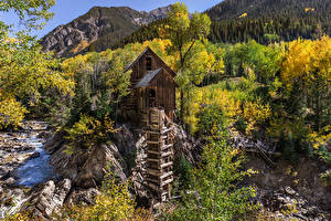 Wallpapers USA Mountains River Stone Trees Watermill Crystal Mill, Colorado Nature
