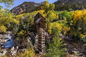 Sfondi desktop Stati uniti Montagne Fiume Pietre Alberi Mulino ad acqua Crystal Mill, Colorado Natura