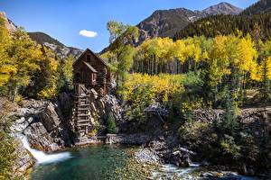Wallpapers USA Mountains River Stones Watermill Trees Crystal Mill, Colorado Nature