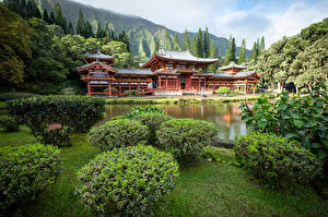 Wallpapers USA Mountains Temples Hawaii Oahu, Byodo-In Temple, Ahuimanu
