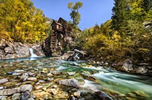 Sfondi desktop USA Fiumi Pietre Mulino ad acqua Alberi Crystal Mill, Colorado Natura