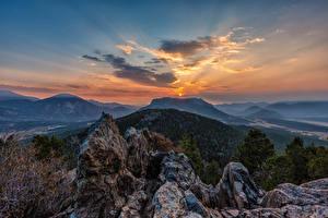 Sfondi desktop USA Albe e tramonti Parco Montagne Cielo Rocky Mountain National Park Natura