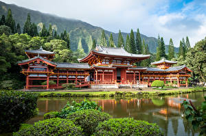 Images USA Temples Pond Mountains Hawaii Trees Oahu, Byodo-In Temple, Ahuimanu Cities