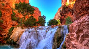 Wallpapers USA Waterfalls Trees Crag Grand Falls, Arizona, Little Colorado River Nature pictures images