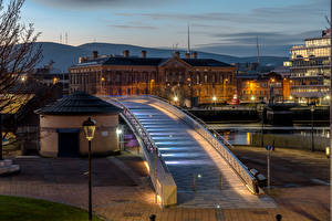 Photo United Kingdom Building Evening Bridges Street lights Northern Ireland, Belfast
