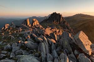 Fonds d'écran Royaume-Uni Montagnes Pays de Galles Falaise Snowdonia Nature images