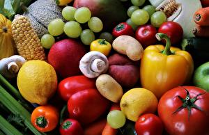 Images Vegetables Tomatoes Mushrooms Grapes Lemons Bell pepper Fruit