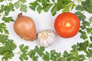 Images Vegetables Tomatoes Onion Allium sativum White background