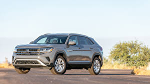Hintergrundbilder Volkswagen Crossover Graue Metallisch 2020 Atlas Cross Sport SE Autos