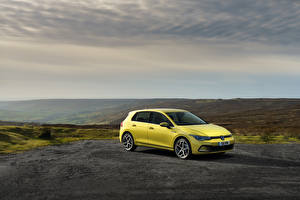 Bureaubladachtergronden Volkswagen Geel kleur 2020 Golf Style