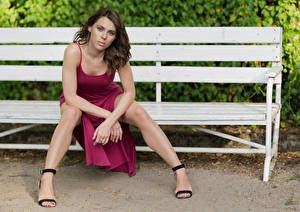 Image Bench Sitting Legs Dress Glance Model Agnieszka Borkowska Girls