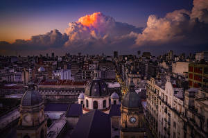 Images Argentina Houses Evening From above Clouds Roof Buenos Aires Cities