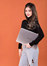 Wallpaper Asiatic Pose Colored background Laptops Sweater Staring Asus female