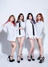 Photo Asian Four 4 Brunette girl Brown haired Pose Blouse Necktie Legs D' Soul female Music