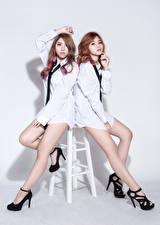 Wallpaper Asian Two Posing Legs High heels Blouse Necktie Glance D' Soul Girls
