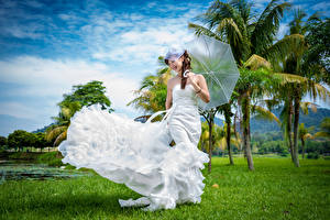 Image Asian Dress Bride Umbrella Palms Girls