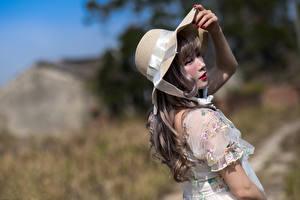 Wallpaper Asian Hat Dress Bokeh Pose Girls