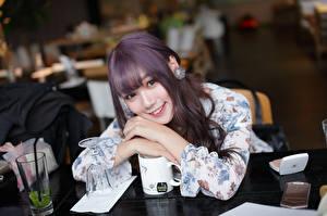 Hintergrundbilder Asiatische Lächeln Nett Blick junge Frauen