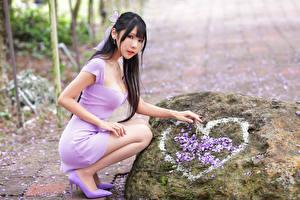 Hintergrundbilder Asiatisches Steine Brünette Posiert Sitzend Kleid Herz Blick