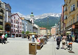 Image Austria Street Bench Street lights Bicycle Maria Theresa Street, Innsbruck Cities