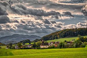 Fotos Österreich Gebirge Acker Wolke Alpen Upper Austria