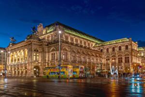 Papel de Parede Desktop Áustria Viena Casa Tarde Esculturas Praça da cidade Revérbero Vienna State Opera Cidades