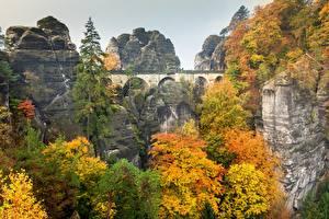 Wallpaper Autumn Bridge Parks Germany Crag Bastey, Saxon Switzerland, Elbe Sandstone Mountains Nature