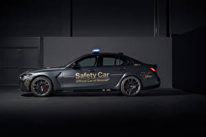Papel de Parede Desktop BMW Cinza Lateralmente M3 Competition MotoGP Safety Car, (G80), 2021 Carros