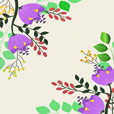 Pictures Berry Painting Art Branches Leaf flower