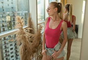 Wallpapers Blonde girl Eyeglasses Sleeveless shirt Hands Shorts Mirror Reflection female