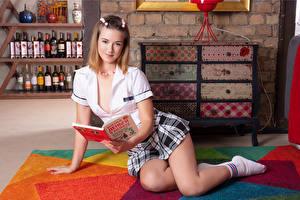 Images Blonde girl Sitting Books Hands Skirt Legs female