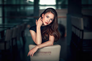 Wallpaper Bokeh Brunette girl Hands Glance young woman