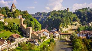 Wallpapers Bridges Rivers Building Switzerland Hill Fribourg Cities