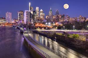 Fotos Brücken Wolkenkratzer USA Nacht Megalopolis Mond Pennsylvania Philadelphia