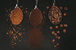 Fotos Kaffee Grauer Hintergrund Drei 3 Löffel Getreide Lebensmittel