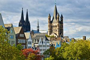 Desktop wallpapers Cologne Germany Houses Autumn Cathedral Cologne Cathedral Cities
