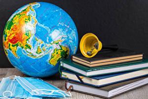 Wallpapers Coronavirus Masks Globe Book Handbell
