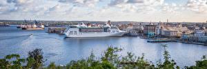 Hintergrundbilder Kuba Schiffsanleger Schiffe Kreuzfahrtschiff Gebäude Panorama Havana Städte