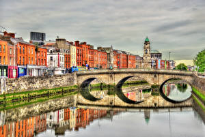 Images Dublin Ireland Building Bridge Rivers Reflection HDR Liffey river, Province Leinster