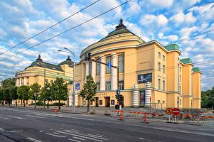 Bilder Estland Tallinn Haus Stadtstraße Wolke Judgendstil Estonia Theatre