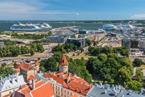 Fotos Estland Tallinn Haus Schiffsanleger Kreuzfahrtschiff Tallinn Harbour Städte