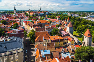 Wallpapers Estonia Tallinn Building Roof From above Cities