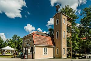 Desktop wallpapers Finland Tower Clouds Fiskars, Old Fire Station Cities
