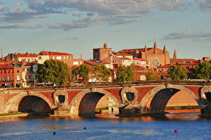 Desktop wallpapers France Bridge River Garonne river, Toulouse, Occitania, Haute-Garonne Cities